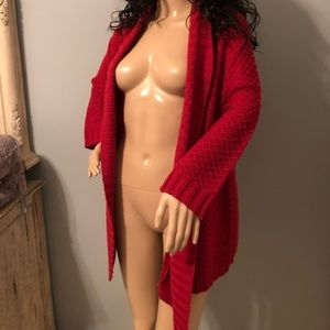 Open front cardigan red great condition. SzLarge